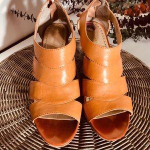 Adrienne Vittadini Leather Cork Wedge Sandals 8.5